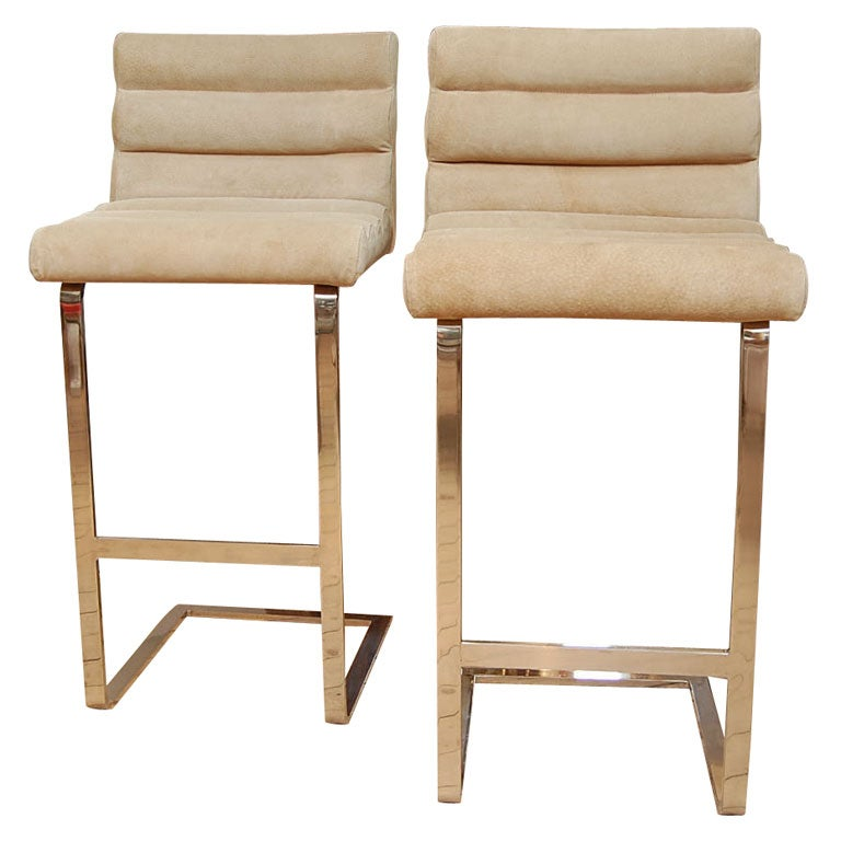 Milo Baughman Suede Upholstered Chrome Bar Stools At 1stdibs