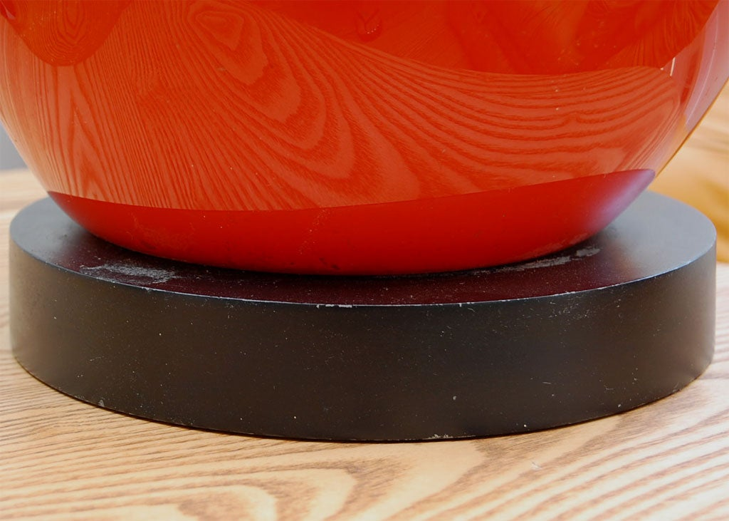 Mod orange glass table lamp with wood base at 1stdibs