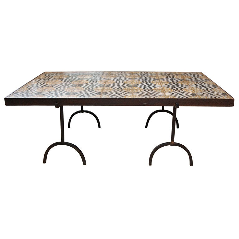 Wrought Iron Coffee Table With Antique Ceramic Tile Top At 1stdibs