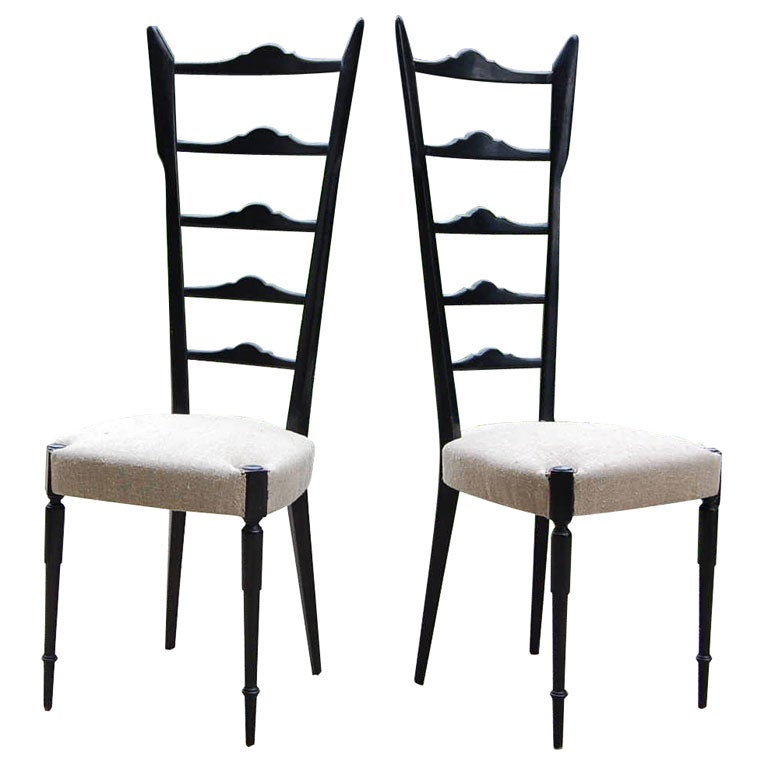Pair Of Black Lacquered Ladder Back Chairs In The Style Of