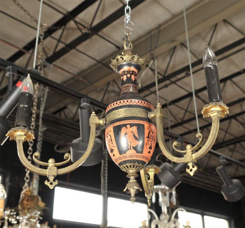 Neo-classical Greek Revival Chandelier three lgiht bronze and pottery