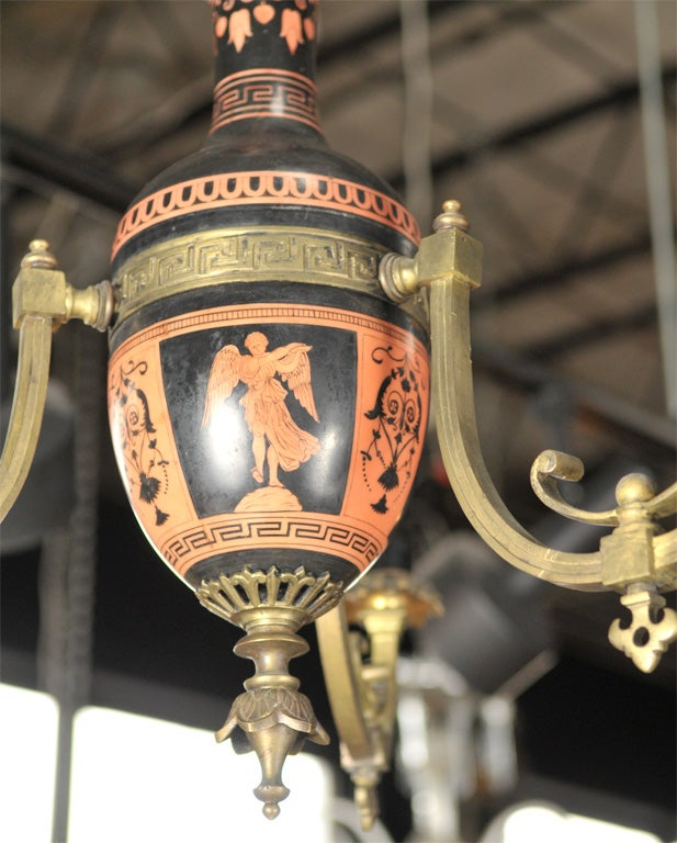Pottery Neo-classical Greek Revival Chandelier For Sale