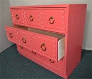 Dorothy Draper Chest of Drawers Dresser CORAL LAQUER image 2