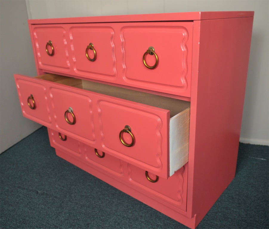 Dorothy Draper Chest of Drawers Dresser CORAL LAQUER 2
