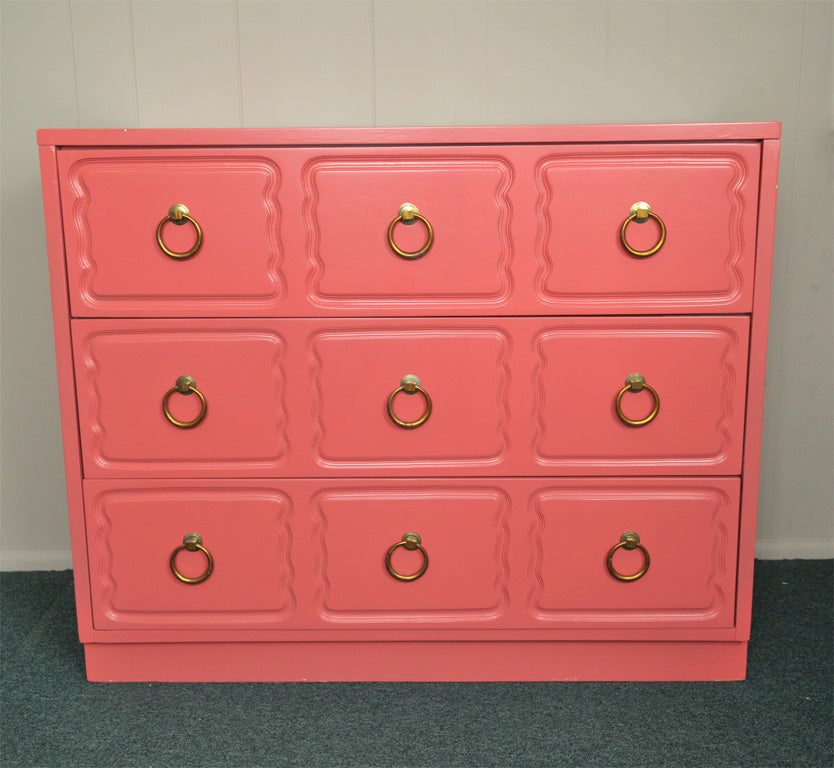 Brass Dorothy Draper Chest of Drawers Dresser CORAL LAQUER For Sale
