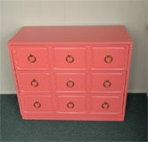 Dorothy Draper Chest of Drawers Dresser CORAL LAQUER image 6