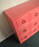 Dorothy Draper Chest of Drawers Dresser CORAL LAQUER image 7