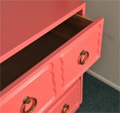 Dorothy Draper Chest of Drawers Dresser CORAL LAQUER image 8