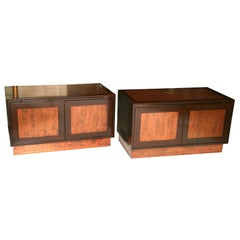 Rare Pair of Walnut and Copper Wall Hung Credenzas by Renzo Rotili