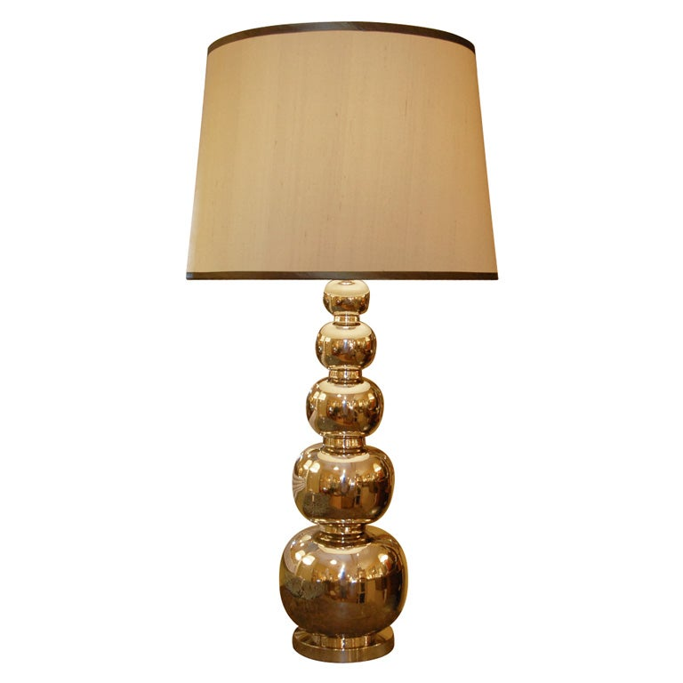 Polished Nickel Lamp With Shades Very Stylish At 1stdibs