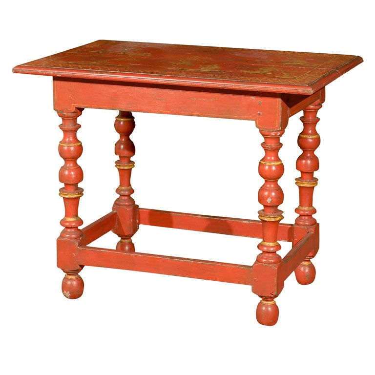 painted red chinoiserie louis xiii style table for sale at 1stdibs. Black Bedroom Furniture Sets. Home Design Ideas