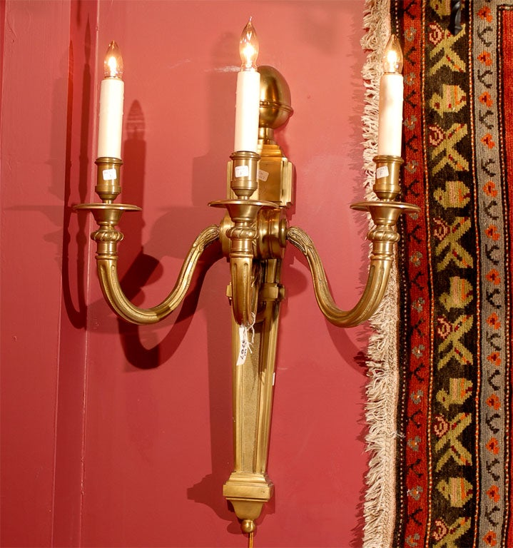 Pair of gilt bronze sconces For Sale 1