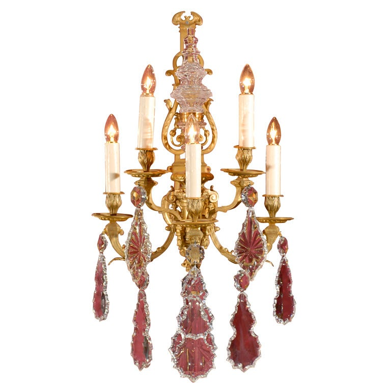 Pair of gilt bronze and crystal sconces at 1stdibs