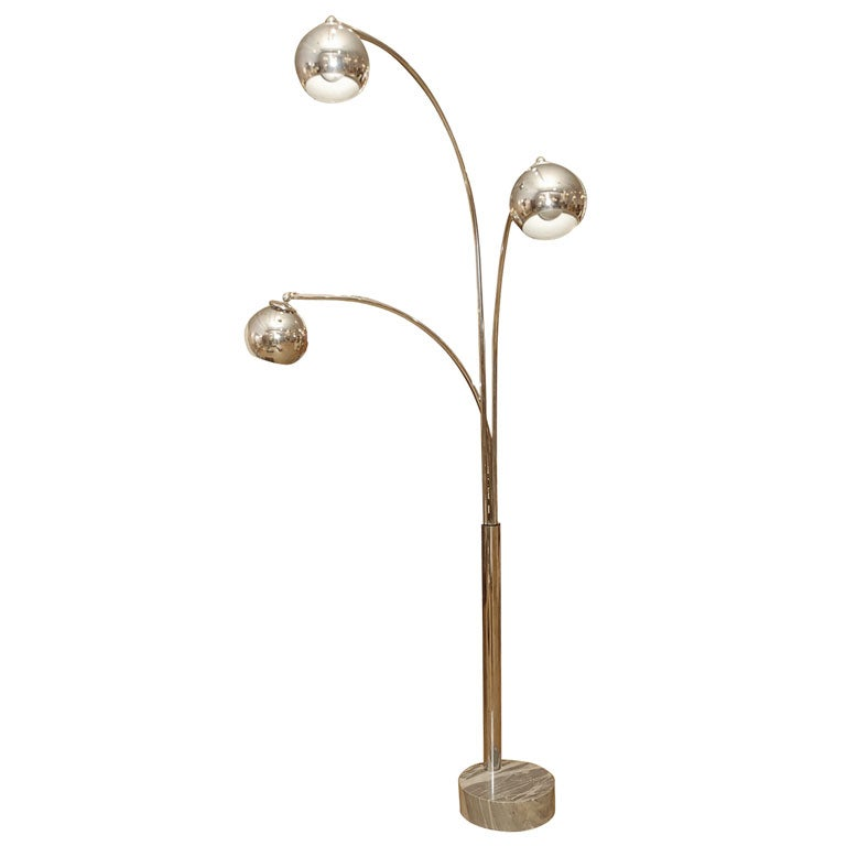 chrome and marble base three light eye ball floor lamp at. Black Bedroom Furniture Sets. Home Design Ideas