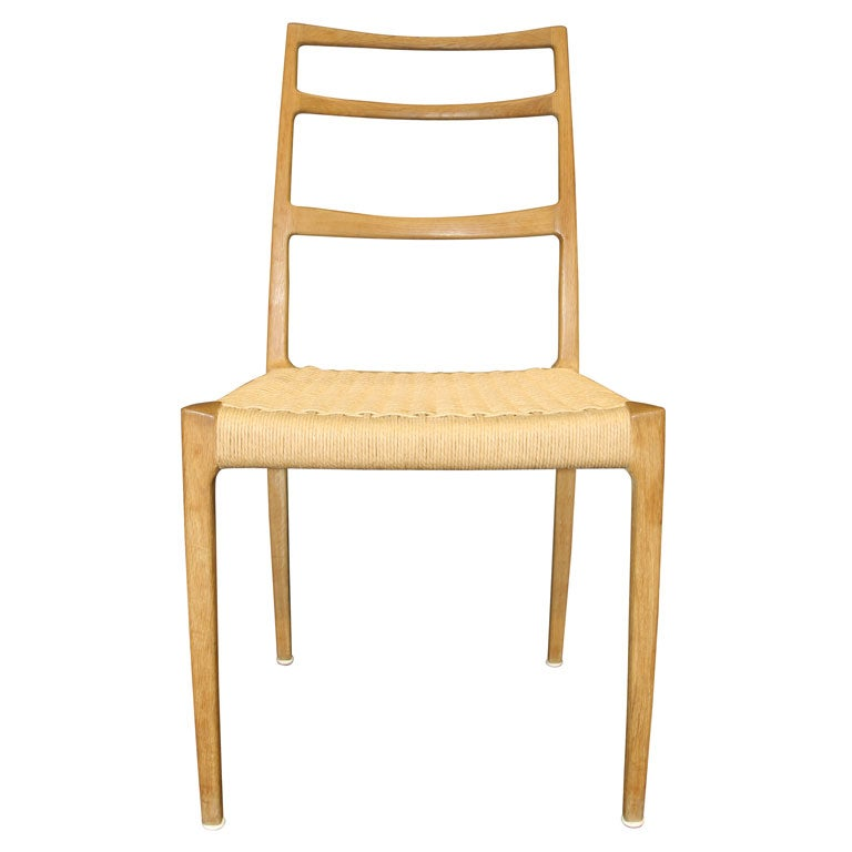 Oak ladder back dining chairs with papercord seats at 1stdibs - Ladder back dining room chairs ...