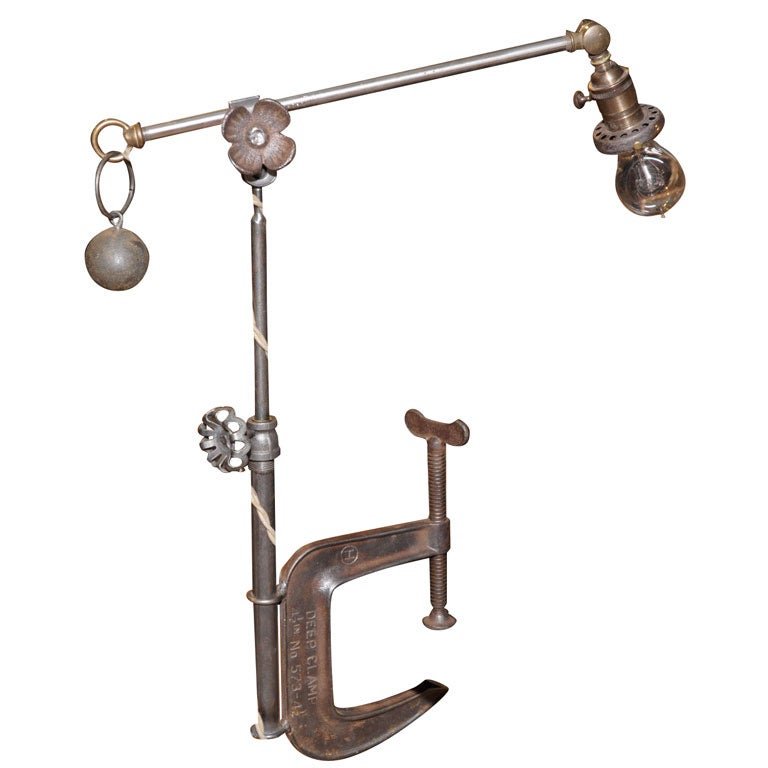 Industrial Task Lamp With Clamp Base At 1stdibs