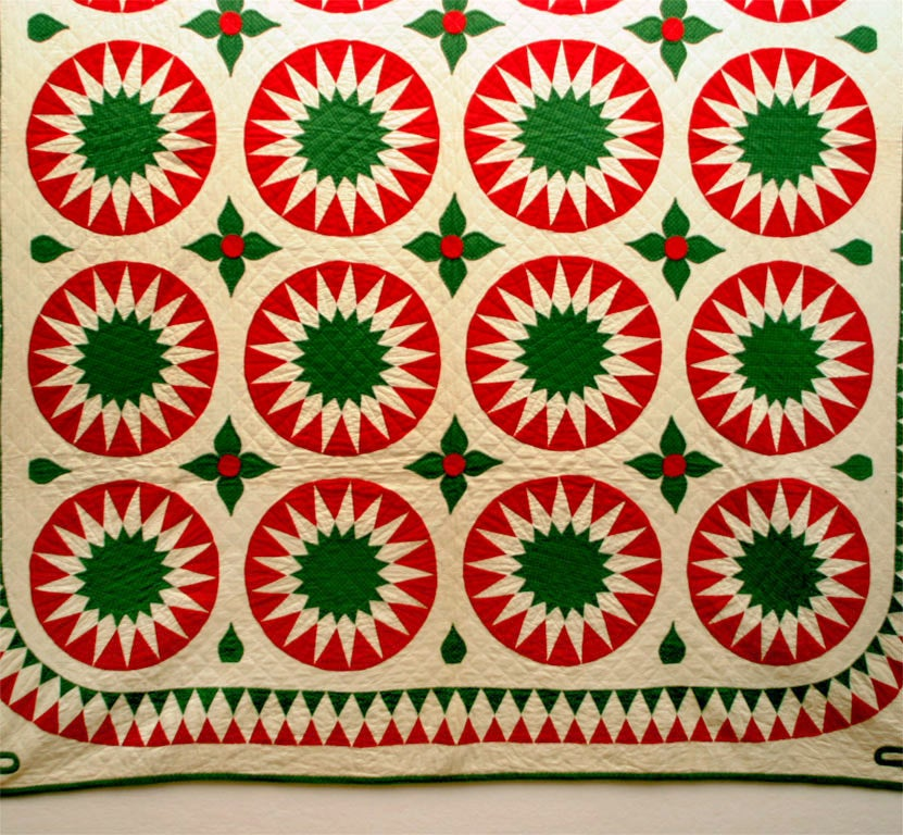 19th Century Antique Quilt:  Sunburst Variation. For Sale