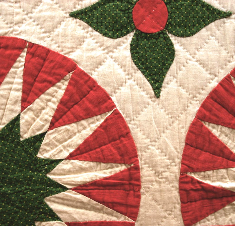 Cotton Antique Quilt:  Sunburst Variation. For Sale