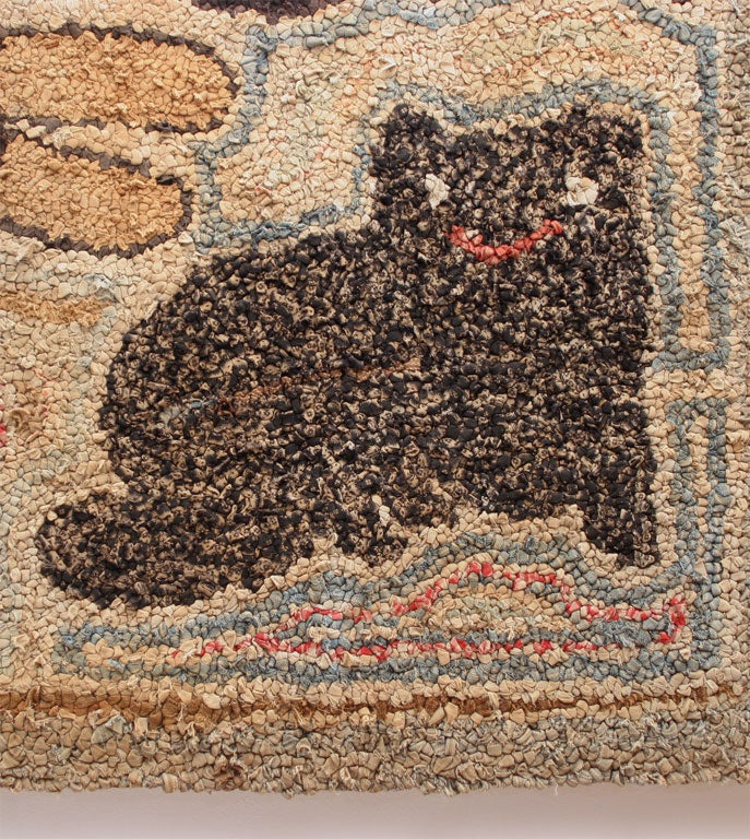 19th Century Antique Folk Art Hooked Rug. For Sale