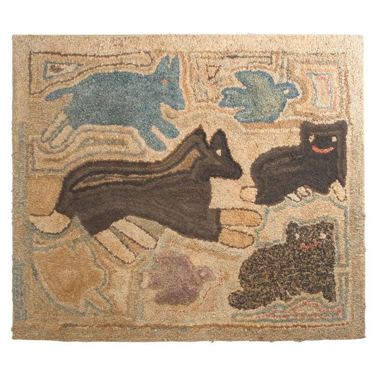 Antique Folk Art Hooked Rug At 1stdibs