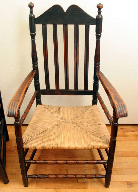 Wood Pair of Rare Bannister Back Armchairs For Sale