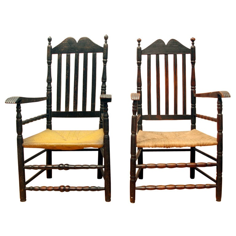 Pair of Rare Bannister Back Armchairs For Sale