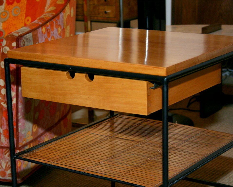 Pair Of Wrought Iron Frame Nightstands By Paul Mccobb For