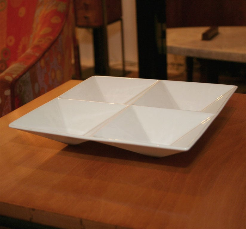 Finnish Origami Form Ceramic Tray by Kaj Franck for Arabia For Sale