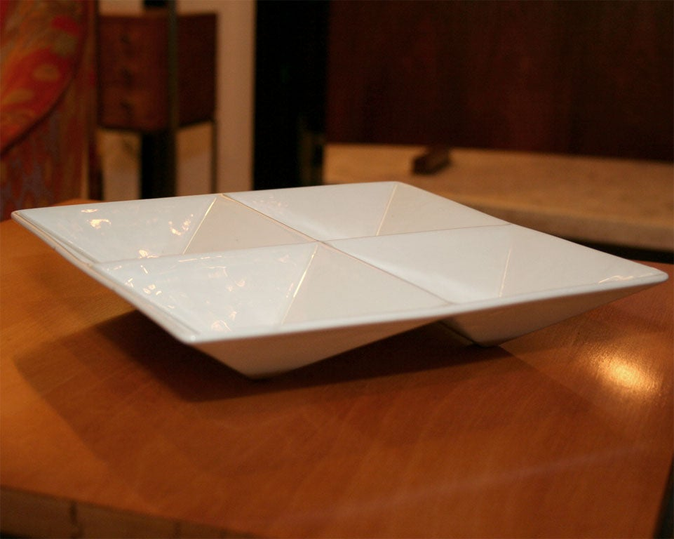 Origami Form Ceramic Tray by Kaj Franck for Arabia In Excellent Condition For Sale In New York, NY