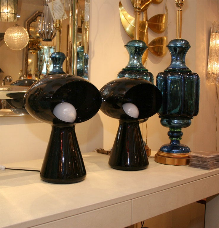 Dark purple glass mushroom form table lamp by Vistosi. Signed.<br /> <br /> <br /> View our complete collection at www.johnsalibello.com