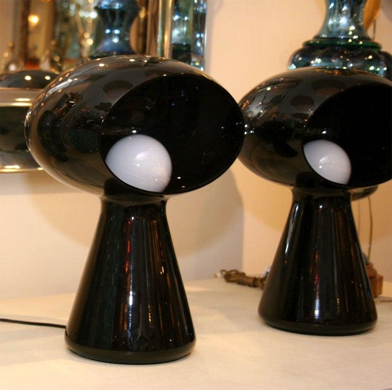 Italian Dark purple glass mushroom form table lamp by Vistosi
