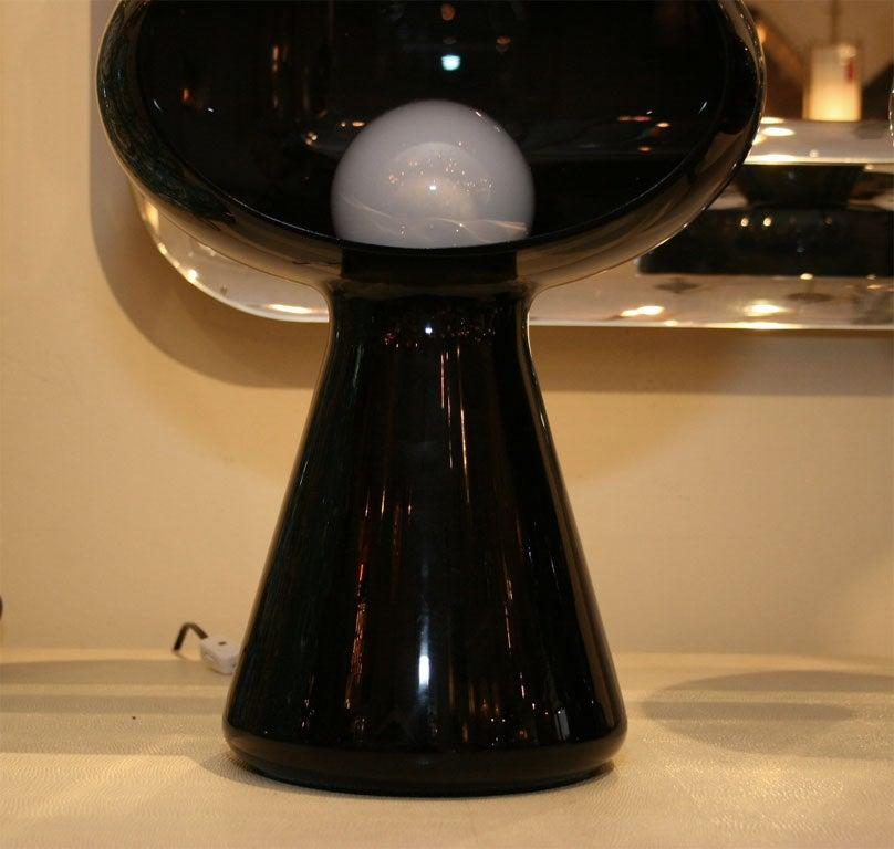 Glass Dark purple glass mushroom form table lamp by Vistosi