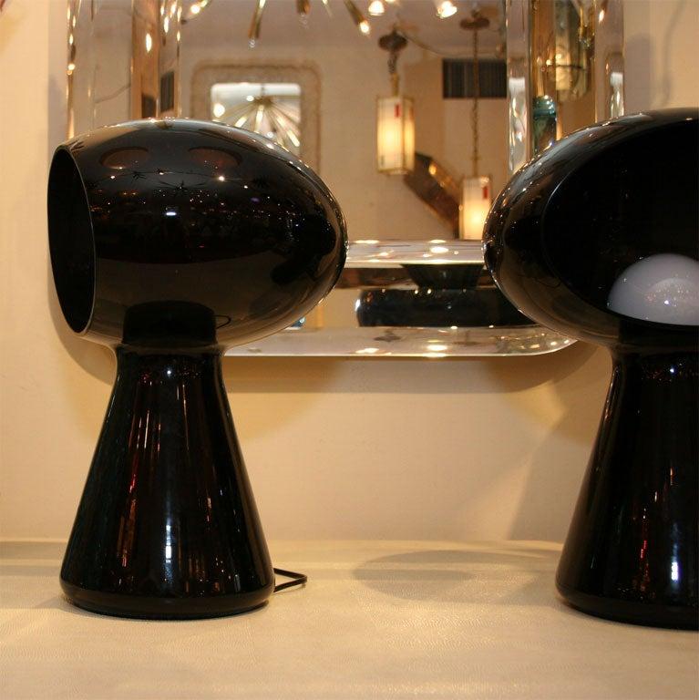 Dark purple glass mushroom form table lamp by Vistosi 2