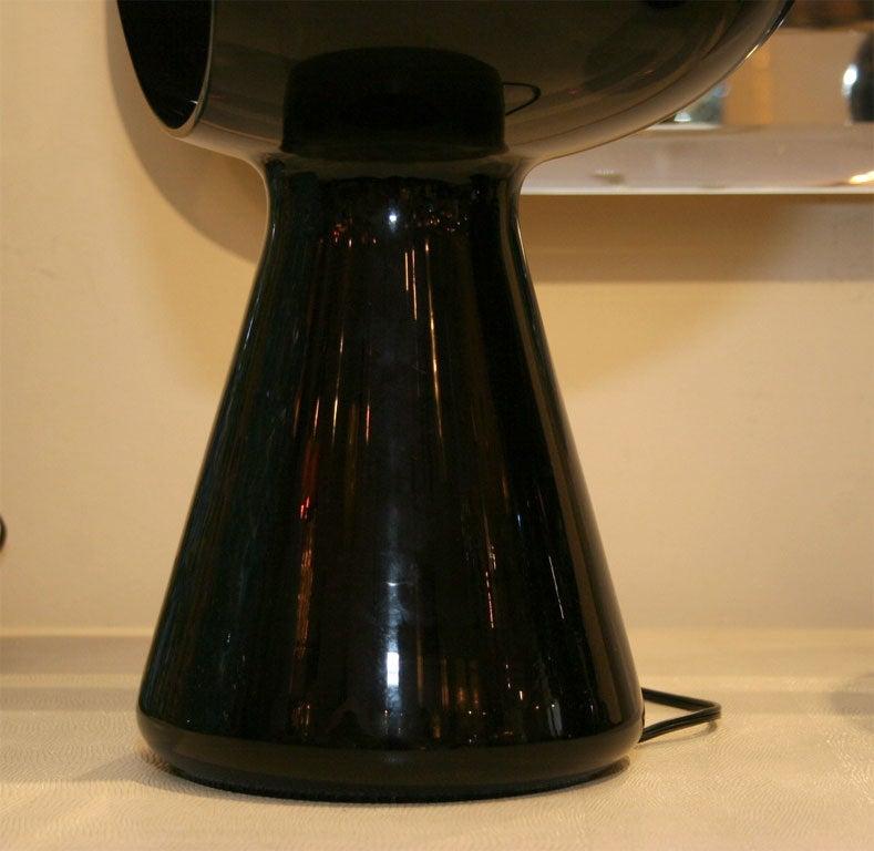 Dark purple glass mushroom form table lamp by Vistosi 3