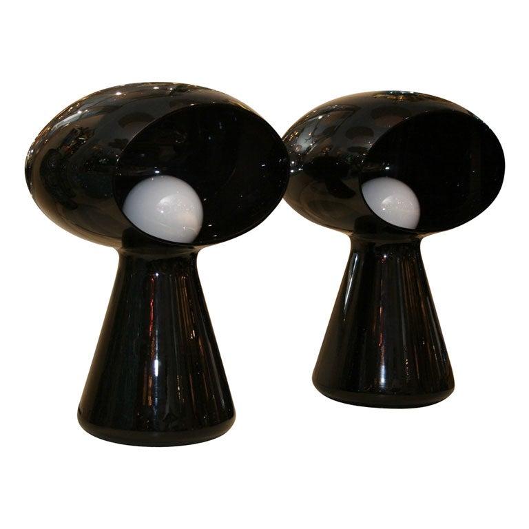 Dark purple glass mushroom form table lamp by Vistosi