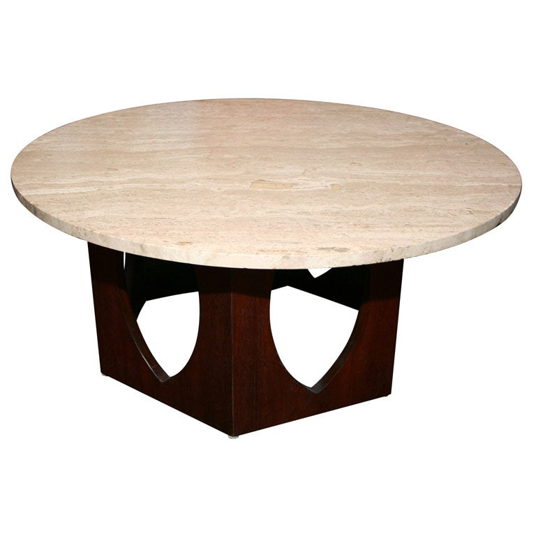 Large Round Travertine Coffee Table With Dark Mahogany Base At 1stdibs