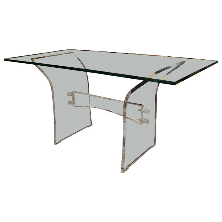 Lucite desk with glass top at 1stdibs for Perspex desk
