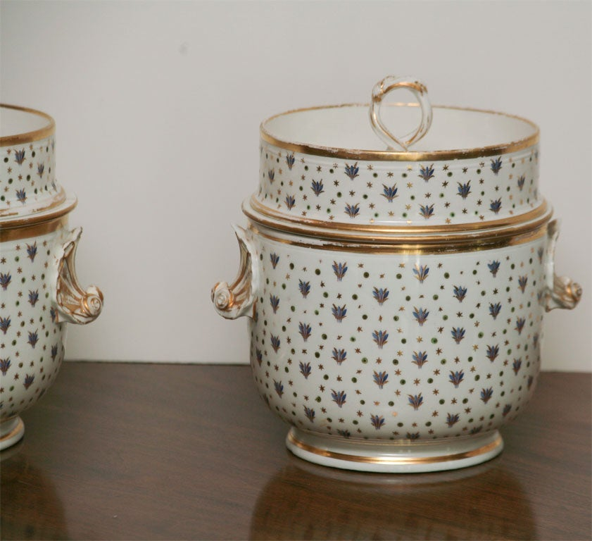 English Pair of 19th Century Derby Fruit Coolers For Sale