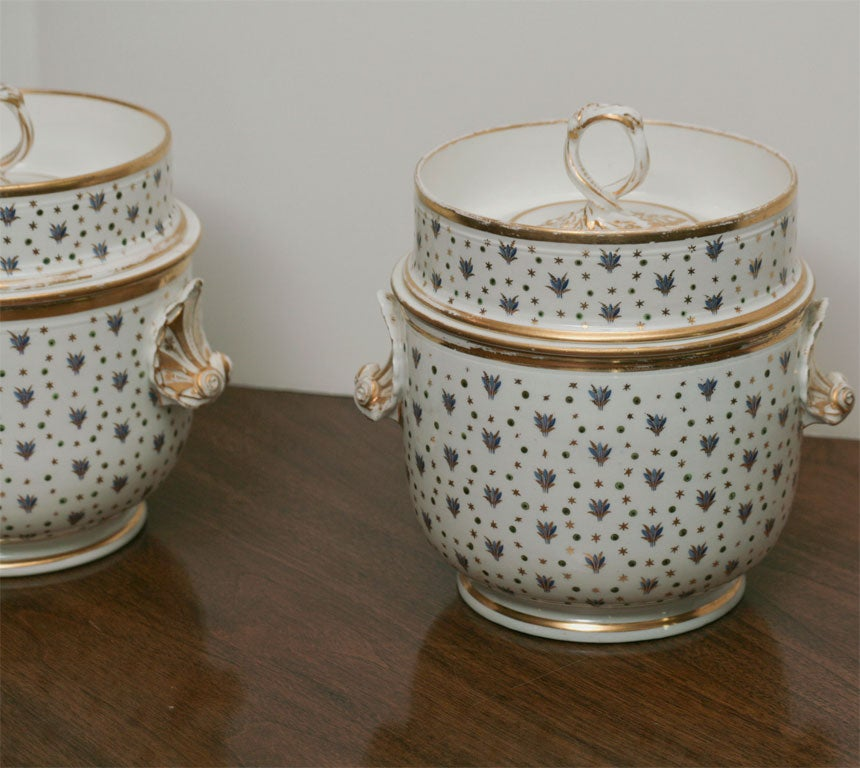 Hand-Painted Pair of 19th Century Derby Fruit Coolers For Sale