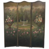 Fabulous Hand Painted Three-Part Leather Screen