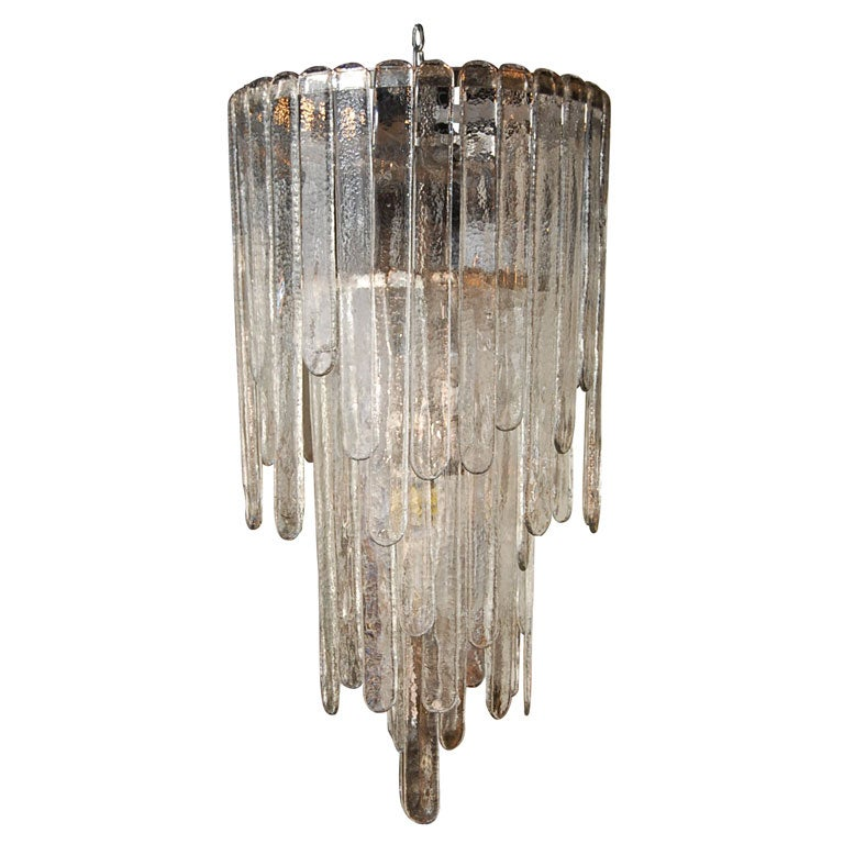 Stunning And Dramatic Icicle Chandelier By Venini At 1stdibs