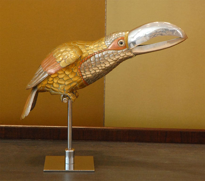 Mixed Metal Toucan Sculpture on Stand by Sergio Bustamante image 2
