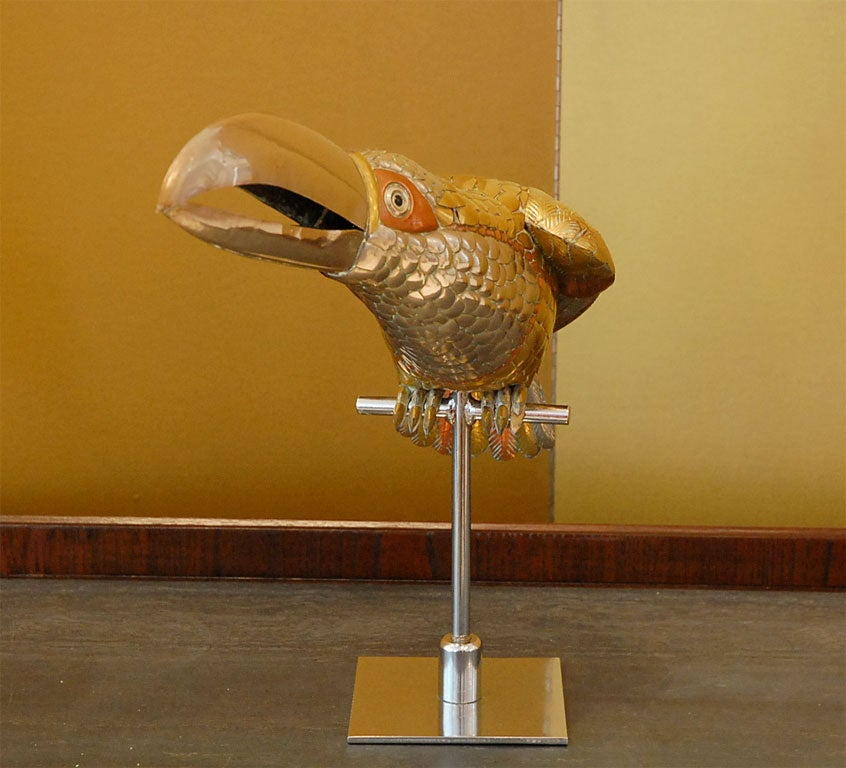 Mixed Metal Toucan Sculpture on Stand by Sergio Bustamante image 6