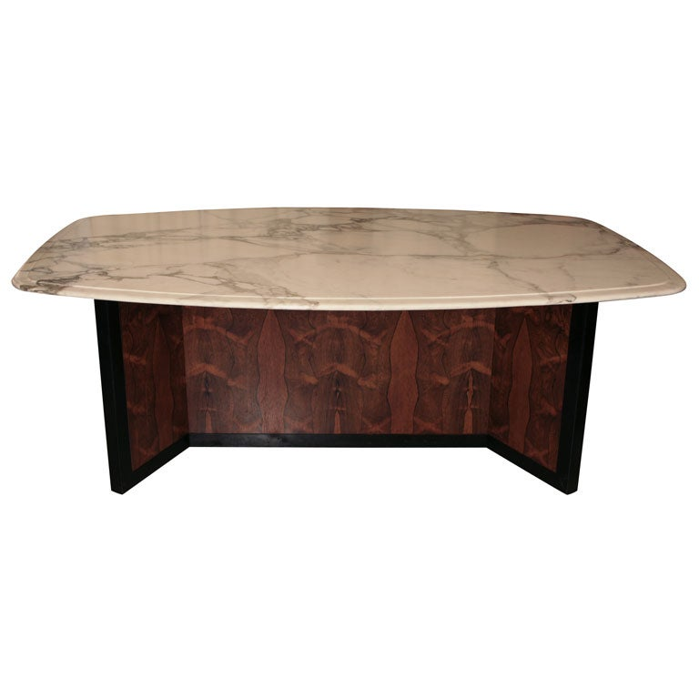 Nail Marble Top Coffee Table: Rosewood And Marble Top Table At 1stdibs