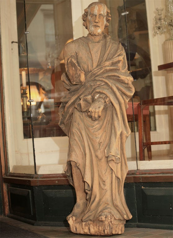 Carved Wood Statue Of Saint Thomas At 1stdibs