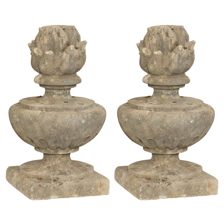 Pair of Carved Stone Finials  For Sale
