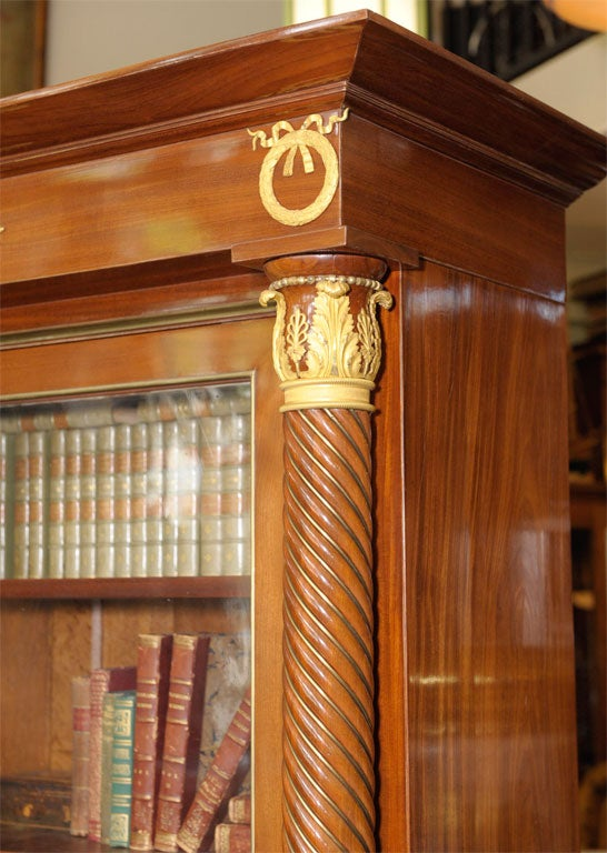 Empire Style Mahogany Bookcase Bibliotheque, French, Late 19th Century In Good Condition For Sale In San Francisco, CA