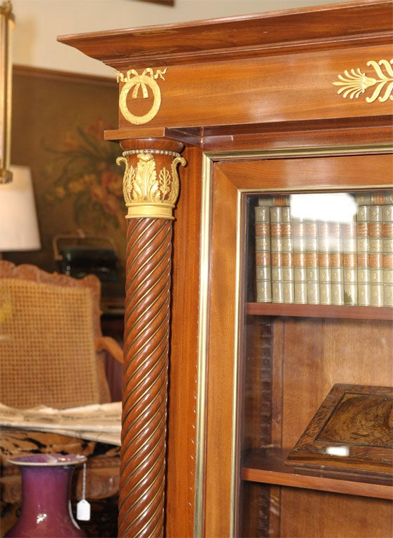 Glass Empire Style Mahogany Bookcase Bibliotheque, French, Late 19th Century For Sale