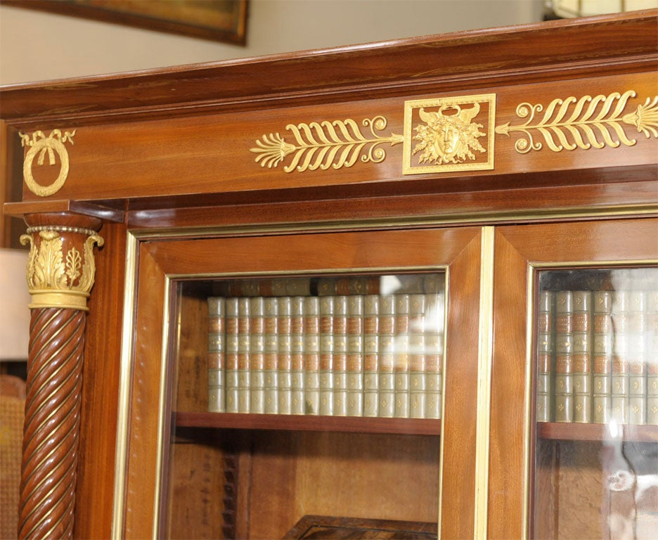 Empire Style Mahogany Bookcase Bibliotheque, French, Late 19th Century For Sale 1