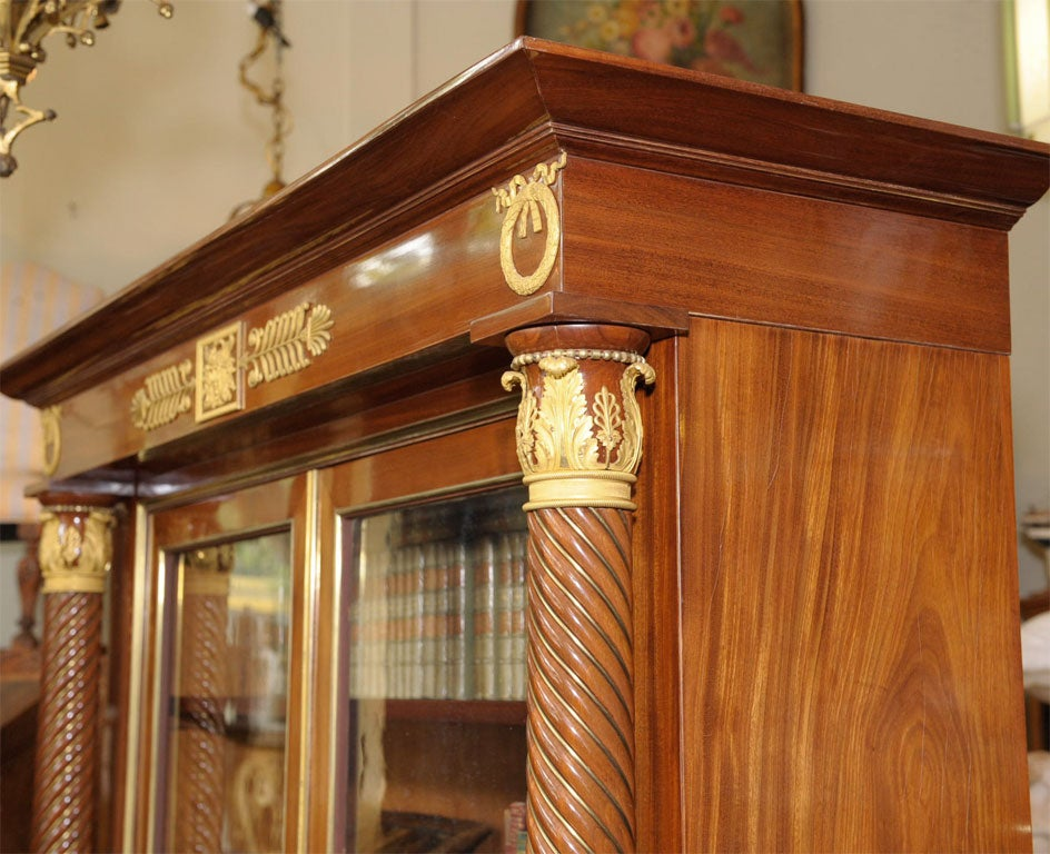 Empire Style Mahogany Bookcase Bibliotheque, French, Late 19th Century For Sale 3